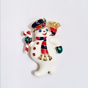 Bob Mackie holiday pin brooch. With rhinestones